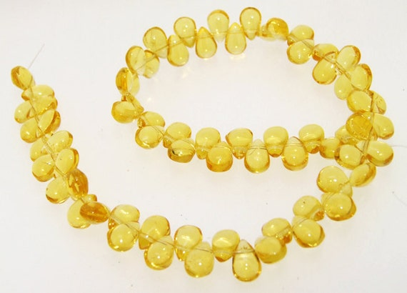 Super 70beads Seed Clear  Yellow Crystal Glass Gemstone Beads One strand