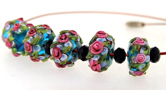 Elegant  Lampwork Superb Hole 4mm 6Beads Lampwork bead Rose Flower Rondelle Lampwork Handmade jewelry designs  European Style