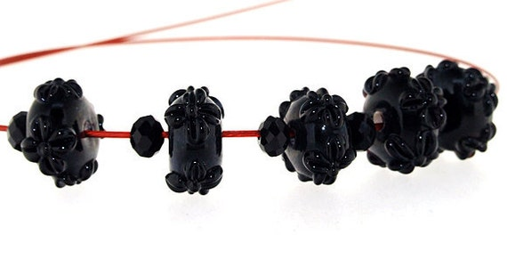 Hole 3mm 5Beads Lampwork beads black flowers beads Handmade jewelry designs  European Style