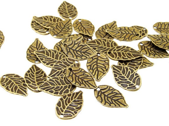 30 pcs of   Bronze Filigree charm leaf  Pendants  Findings  10mmx18mm---A