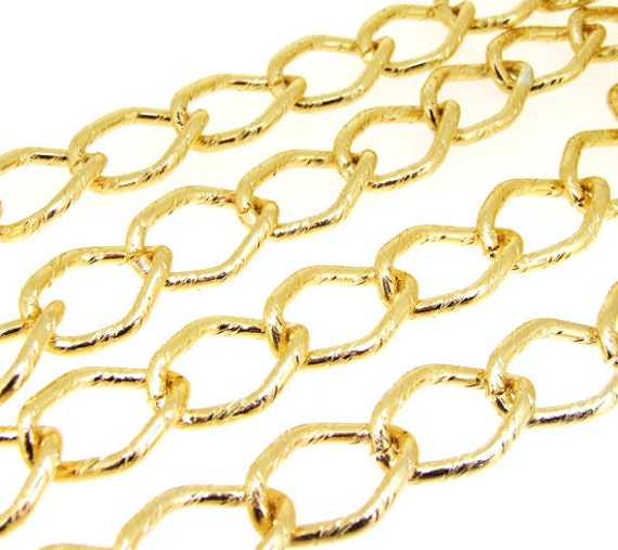 1m 38inch one of  plated yellow gold on aluminum alloy circle necklace loop chain deep 3mm loop about 17mmx23mm