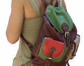 Multicolored  handmade leather backpack,named Joy MADE TO ORDER