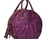 Selini, a leather handmade handbag in Viola