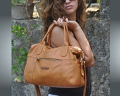Handmade leather tote bag, named Christie,  in light  tan color MADE TO ORDER