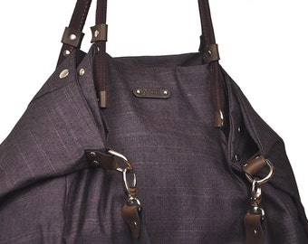Julia, shopping bag in purple-black cotton wooven with leather details MADE TO ORDER