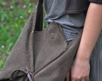 Hobo, across body bag in stonewashed canvas with leather details,Harlequin in  brown MADE  TO ORDER