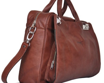 Professional handmade leather bag in soft Italian leather, Ulisse MADE TO ORDER