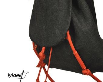 Backpack, shouder bag, messenger bag, in Black Jean with red leather details,named Daphne MADE TO ORDER