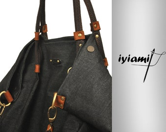 Shopping bag Julia in Italian  black  jean  with leather details.From iyiamihandbags MADE TO ORDER