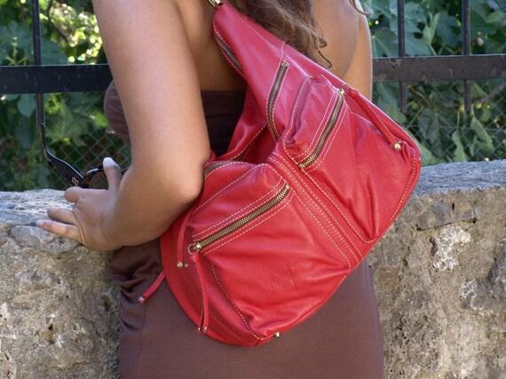 Handmade Leather Shoulder Bag  - Hermes in red MADE TO ORDER
