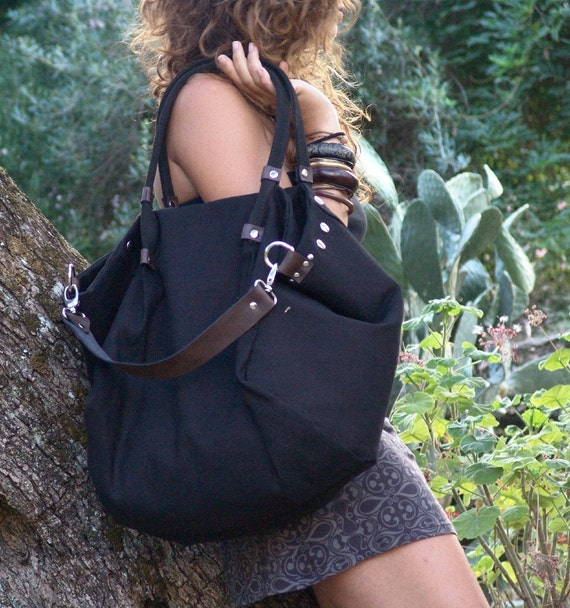 Stonewashed italian canvas-leather bag,Julia in black color.MADE TO ORDER