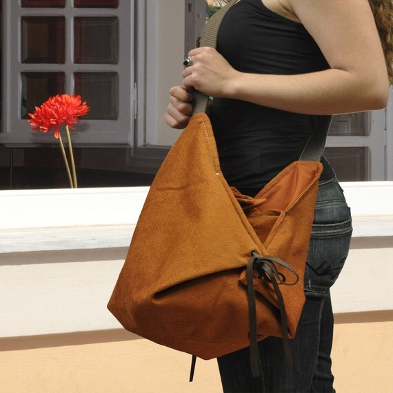 Items similar to Cross body bag, hobo, in Orange fabric ...