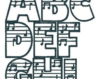 PES ONLY Amadeus Music Font Machine Embroidery Monogram Set 4x4 Hoop