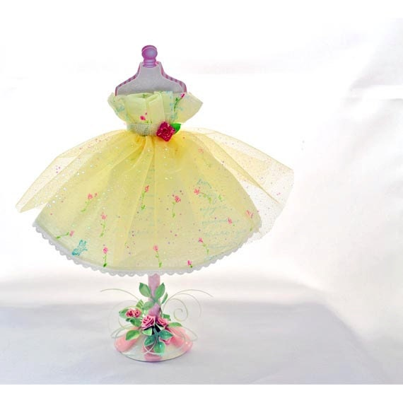 Decorative Dress Form Paper Art with Yellow Tulle  and Crepe Paper  Dress
