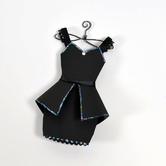 High Fashion Little Black Paper Cocktail Dress Paper Art