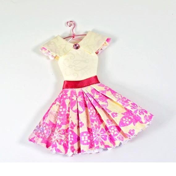 Spring Fuchsia and Cream Fashion Paper Dress Paper Art