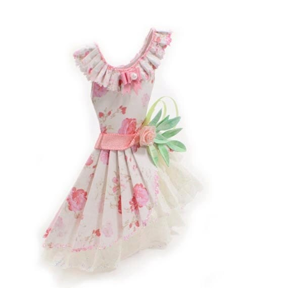 Sweet Lolita Pink Floral Haute Paper Fashion Art Dress