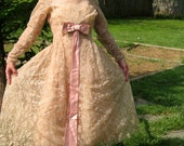 Reserved for KAStrachan /// Vintage 30s Peach Pink Lace Wedding Dress xs