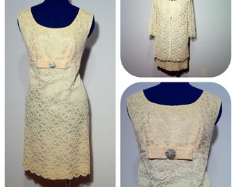 Vintage 60s Mod Formal Dress Cream Lace Empire Waist Dress with Lace Jacket