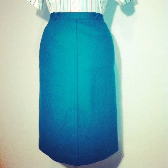Vintage 80's Haberdashery Collection Teal Pencil Skirt S