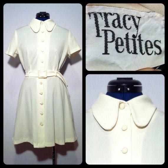 Vintage 70s Tracy Petites Cream Polyester Mini Dress S