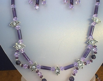 Amethyst, Swarovski Crystals and Sterling Silver Necklace and Earring Set