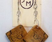 Rustic Handcrafted Natural Wood Earrings