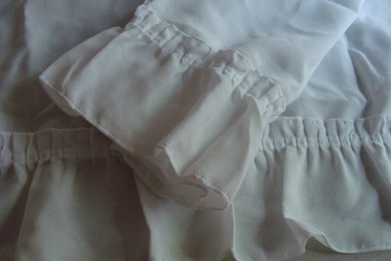 Shabby Chic 2 White Ruffled Curtain Valance panels