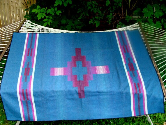 Vintage Navajo Style Pearce Woolrich Made in USA Blanket 77x58 excellent cond