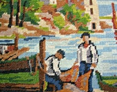 needlepoint tapestry south of France landscape, seeside with fishermen,one of a kind, france