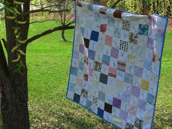 "Grandma's vintage Patchwork Tie-Quilt Blanket ""Summer Tea"""