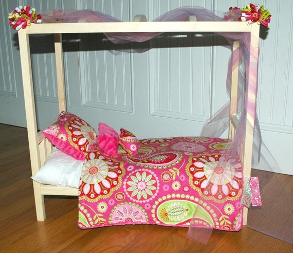 Doll Bed-Canopy Gypsy Bandana Doll Bed-Fits American Girl Dolls and 18 Inch Dolls