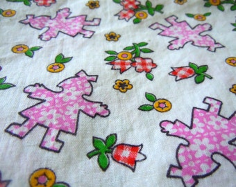 Vintage Pink Floral Silhouette Girl Fabric- 1 Yard plus