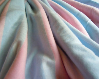 Stretchy Knit Pink and Blue Vintage Fabric- 1 Plus Yard