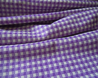 Purple Checkered Vintage Fabric Remnant