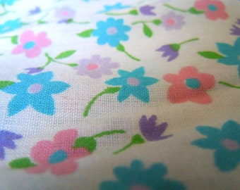 Cheerful Blue, Pink, and Purple Floral Fabric- 3 Yards