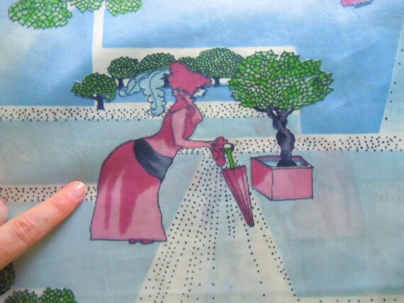 Vintage 1970's Novelty Print-3 yards-Features a 1970's pictorial landscape of two lovers in the park reading poetry.