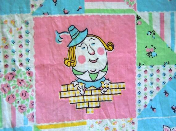 Vintage nursery rhyme fabric featuring humpty dumpty and for Retro nursery fabric