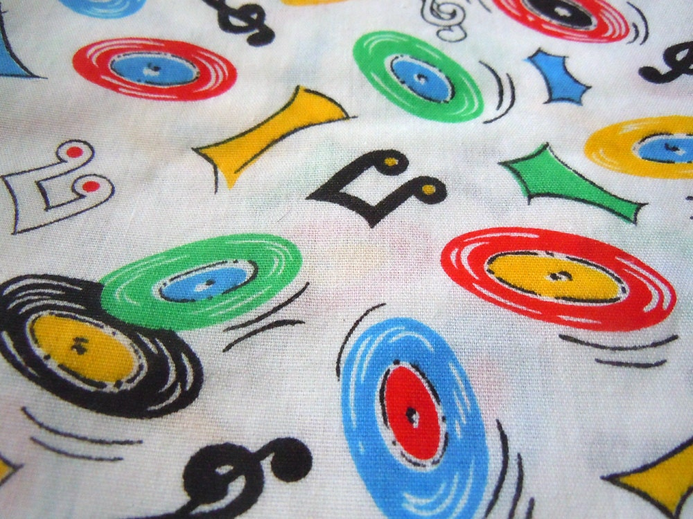 Music Themed Vintage Cotton Fabric 1 Yard