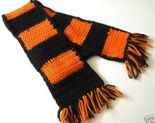 Halloween Crochet Scarf, Orange and Black