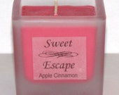 Sweet Escape 1.8oz Apple Cinnamon Scented Votive Candle in Square Frosted Glass Container Made with All Natural Soy Wax