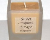 Sweet Escape 1.8oz Pumpkin Pie Scented Votive Candle in Square Frosted Glass Container Made with All Natural Soy Wax