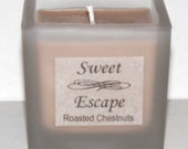 Sweet Escape 1.8oz Roasted Chestnuts Scented Votive Christmas Candle in Square Frosted Glass Container Made with All Natural Soy Wax
