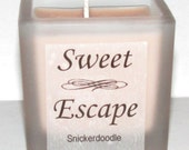 Sweet Escape 1.8oz Snickerdoodle Scented Votive Candle in Square Frosted Glass Container Made with All Natural Soy Wax