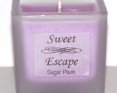 Sweet Escape 1.8oz Sugar Plum Scented Votive Christmas Candle in Square Frosted Glass Container Made with All Natural Soy Wax