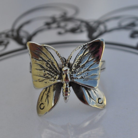 free resize sterling silver butterfly ring
