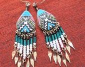 SALE - Handmade Colorful Beaded Earrings - ER-14
