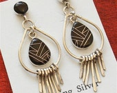 Super Sale - Black Onyx Post Earrings - Sterling Silver Earrings ER-26