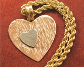 Valentines Day Gift - Copper Silver Heart Pendant with Chain NK34