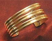 Metal Jewelry - Three Band Brass Metal Cuff Bracelet  BR-54